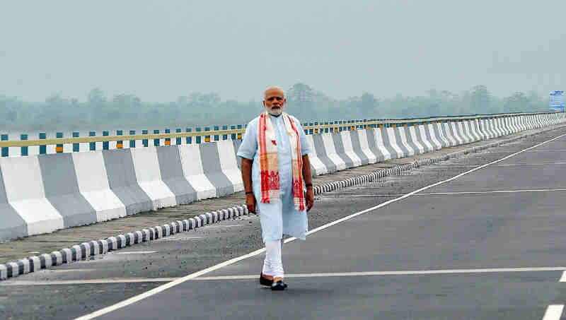 Narendra Modi at the Dhola-Sadia Bridge, across River Brahmaputra, in Assam on May 26, 2017
