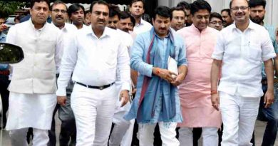 A delegation of Delhi BJP leaders led by its president Manoj Tiwari went to the Election Commission of India (ECI) on Tuesday to submit a complaint letter regarding irregularities in the donation records of AAP.