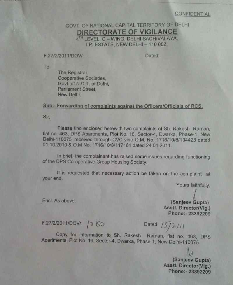 Letter from Directorate of Vigilance under CVC directions to start a corruption inquiry at DPS CGHS. Inquiry is still pending.