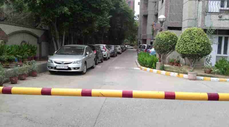 Illegal Car Parking at DPS Housing Society, Sector 4, Dwarka, New Delhi. These cars obstruct the movement of fire brigade and ambulance in the case of any emergency. Click the photo to read the story.
