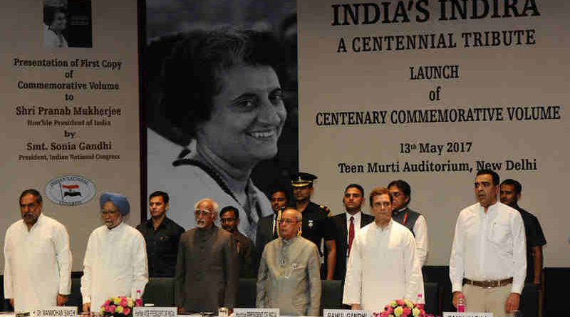 "The President, Shri Pranab Mukherjee, the Vice President, Shri M. Hamid Ansari, the former Prime Minister, Dr. Manmohan Singh and other dignitaries at the release of the Commemorative Volume ""India's Indira: A Centennial Tribute"", in New Delhi on May 13, 2017"