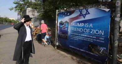 Billboards welcoming president Trump to Israel line street of Jerusalem.