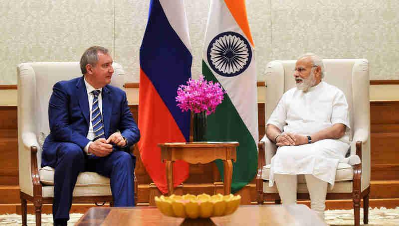 The Russian Deputy Prime Minister, Mr. Dmitry Rogozin calls on the Prime Minister, Shri Narendra Modi, in New Delhi on May 10, 2017