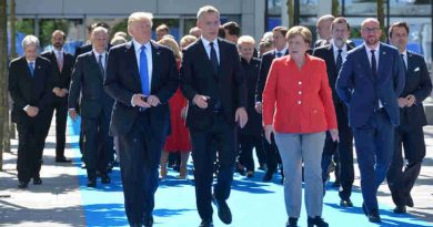 Donald Trump (President, United States), NATO Secretary General Jens Stoltenberg and Angela Merkel (Federal Chancellor, Germany). Photo: NATO