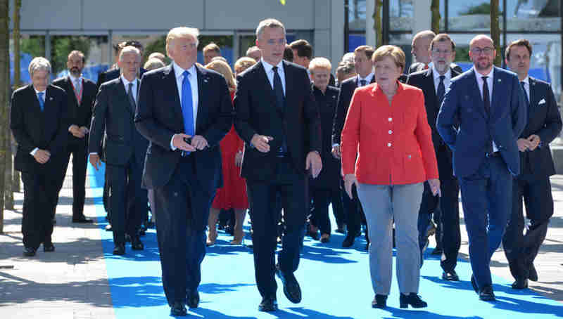 Donald Trump (President, United States), NATO Secretary General Jens Stoltenberg and Angela Merkel (Federal Chancellor, Germany)