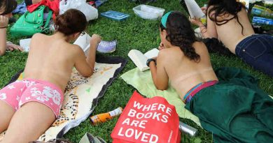 Topless book club meeting in an NYC park