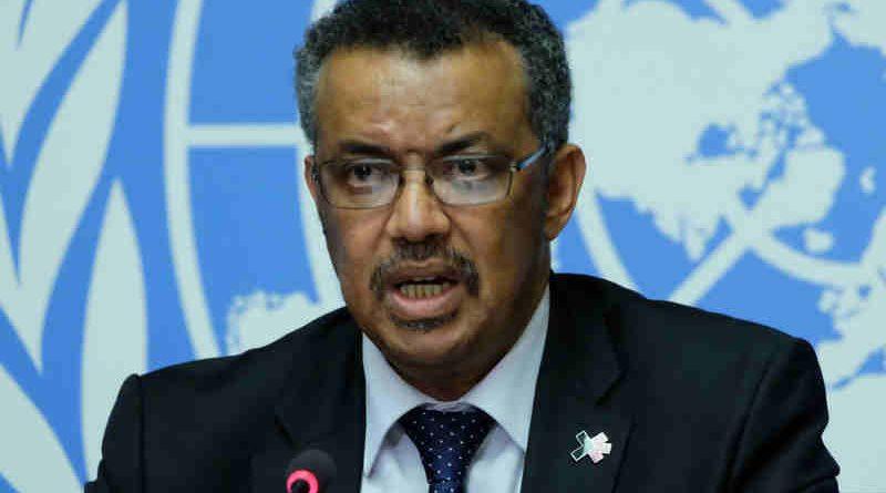 Dr Tedros Adhanom Ghebreyesus, WHO Director-General-Elect, briefs the press in Geneva. Photo: UN/Daniel Johnson