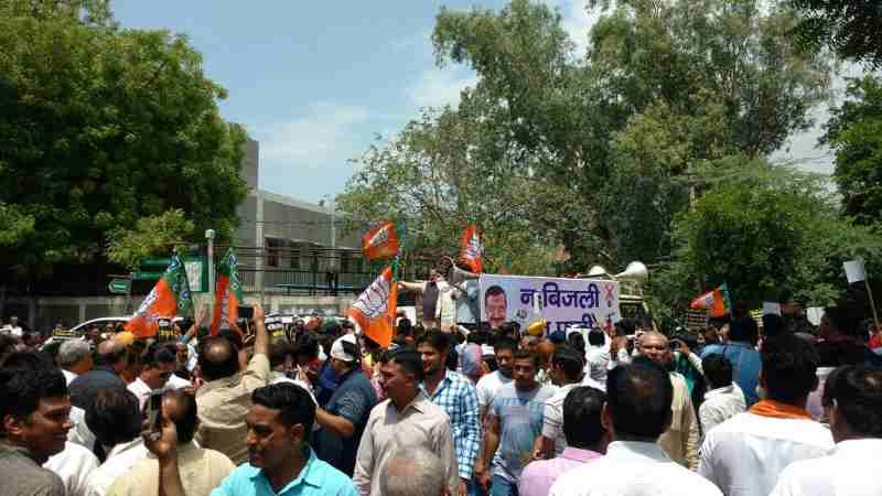 Delhi BJP Protests Against Kejriwal for Power and Water Crises