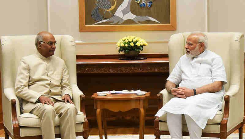 Ram Nath Kovind meeting the Prime Minister, Narendra Modi, in New Delhi on June 19, 2017