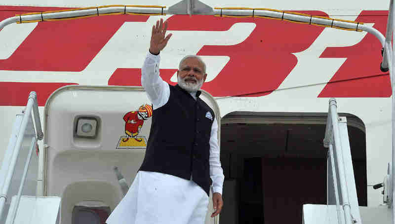 Narendra Modi departs for Delhi from Paris (file). Photo: Press Information Bureau