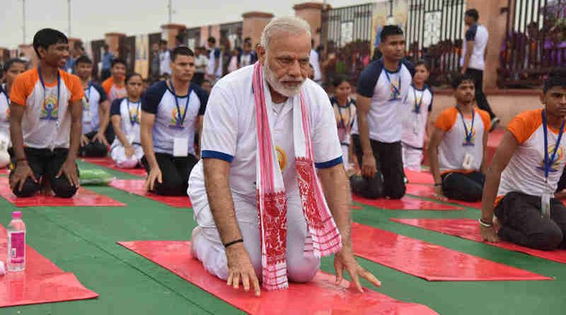 Narendra Modi participates in the mass yoga demonstration at the Ramabai Ambedkar Maidan, on the occasion of the 3rd International Day of Yoga - 2017, in Lucknow on June 21, 2017