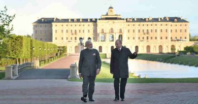 Narendra Modi with the President of Russian Federation, Vladimir Putin, at Konstantin Palace, in St. Petersburg, Russia on June 01, 2017