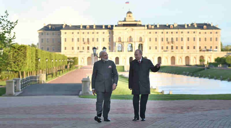 Narendra Modi with the President of Russian Federation, Vladimir Putin, at Konstantin Palace, in St. Petersburg, Russia on June 01, 2017. (file photo)