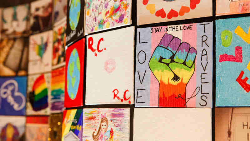 Marriott International #LoveTravels Mosaic featuring artwork from Tituss Burgess, Laverne Cox, Jazz Jennings and thousands of others from 96 countries around the world.