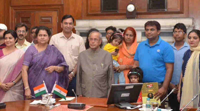 Pranab Mukherjee at the launch of the Mobile App 'Selfie with Daughters', at Rashtrapati Bhavan, in New Delhi on June 09, 2017