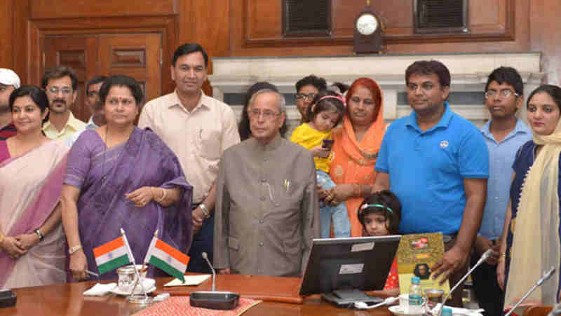 Pranab Mukherjee at the launch of the Mobile App 'Selfie with Daughters', at Rashtrapati Bhavan, in New Delhi on June 09, 2017