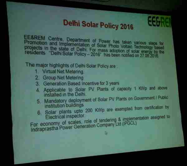 Delhi Solar Policy – 2016