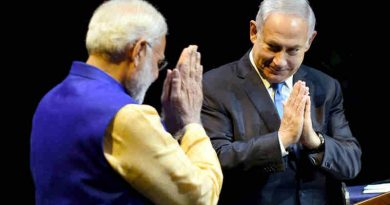 Narendra Modi and the Prime Minister of Israel, Benjamin Netanyahu at the Community Reception Programme, in Tel Aviv, Israel on July 05, 2017