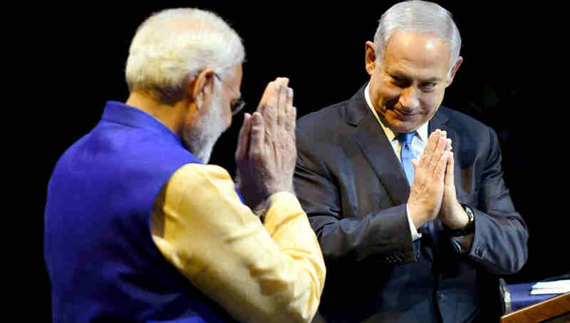 Narendra Modi and the Prime Minister of Israel, Benjamin Netanyahu at the Community Reception Programme, in Tel Aviv, Israel on July 05, 2017 (file photo)