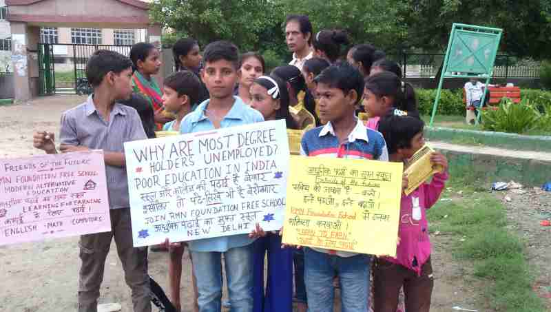 School students participating in a campaign to highlight the poor quality of education in India. Campaign by RMN Foundation (file photo)