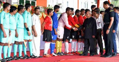 Pranab Mukherjee being introduced to the players of football teams at the inauguration of the 7th edition of KKM Memorial Gold Cup-Rural Football Tournament 2017, at Mackenzie Park Football Ground, Murshidabad, in West Bengal on July 14, 2017