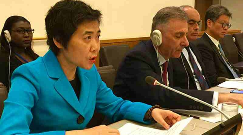 ICAO Secretary General Dr. Fang Liu at today's Special Meeting between ICAO and the UN Security Council's Counter-Terrorism Committee.