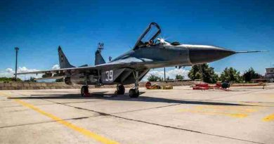 A MiG - 29A Fulcrum fighter jet from the Bulgarian Air Force, standing by for NATO's Air Policing mission at Graf Ignatievo Airbase, Bulgaria. - NATO photo by Cynthia Vernat, Allied Air Command Public Affairs Office