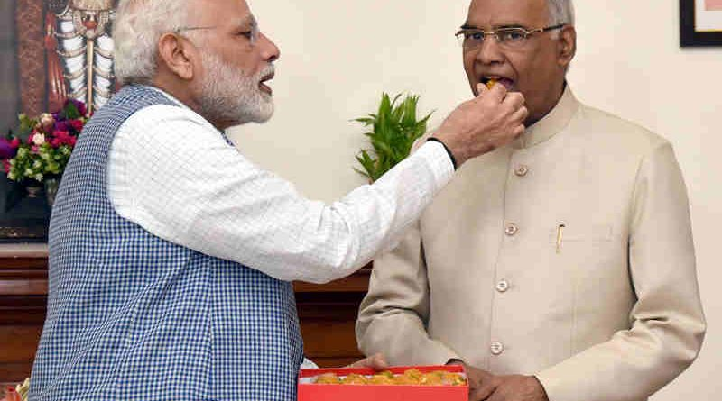 The Prime Minister, Shri Narendra Modi congratulates the President-elect, Shri Ram Nath Kovind, in New Delhi on July 20, 2017. (file photo). Courtesy: PIB
