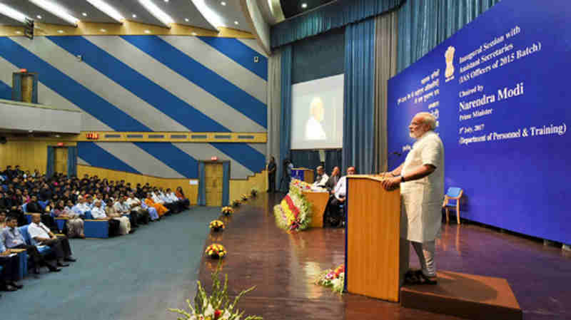 Narendra Modi delivering his address at the Inaugural Session of Assistant Secretaries (IAS Officers of the 2015 batch), at DRDO Bhawan, in New Delhi on July 03, 2017