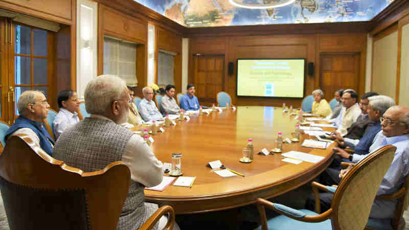 Narendra Modi meeting the top scientific officials of Government of India, in New Delhi on July 18, 2017