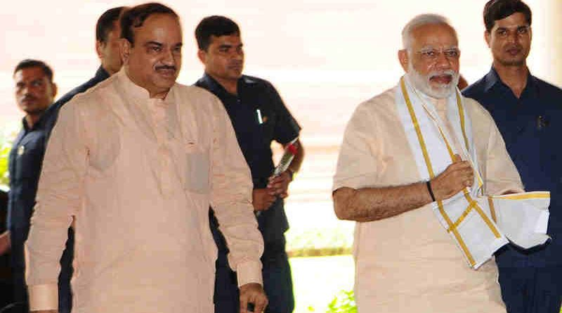 Narendra Modi at the All Party Meeting, in Parliament House, in New Delhi on July 16, 2017. The Union Minister for Chemicals & Fertilizers and Parliamentary Affairs, Ananth Kumar, is also seen.