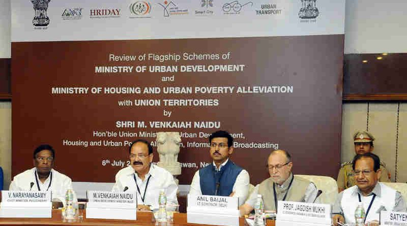 M. Venkaiah Naidu at a review meeting of flagship schemes of the Ministry of Urban Development and Housing & Urban Poverty Alleviation with Union Territories, in New Delhi on July 06, 2017