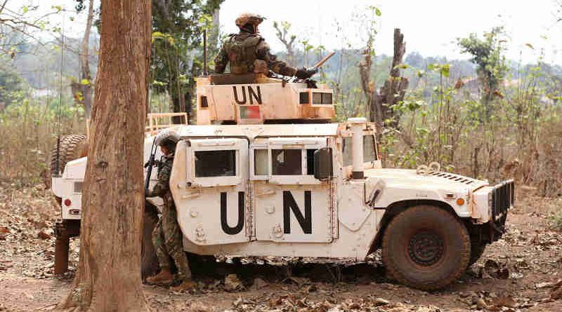 Peacekeepers with the United Nations Multidimensional Integrated Stabilization Mission in the Central African Republic (MINUSCA) on patrol in Bambari. Photo: MINUSCA