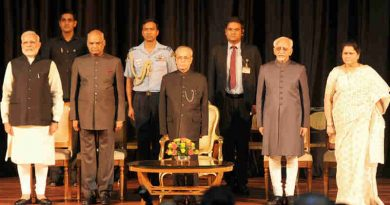 The President, Shri Pranab Mukherjee, the Vice President, Shri M. Hamid Ansari, the President-elect, Shri Ram Nath Kovind and the Prime Minister, Shri Narendra Modi at the release of Volume 4 of President Pranab Mukherjee's selected speeches in Rashtrapati Bhavan, in New Delhi on July 24, 2017.