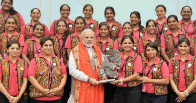 A group of women motorbike riders from Gujarat - the Biking Queens, calling on the Prime Minister, Shri Narendra Modi, in New Delhi on August 28, 2017.