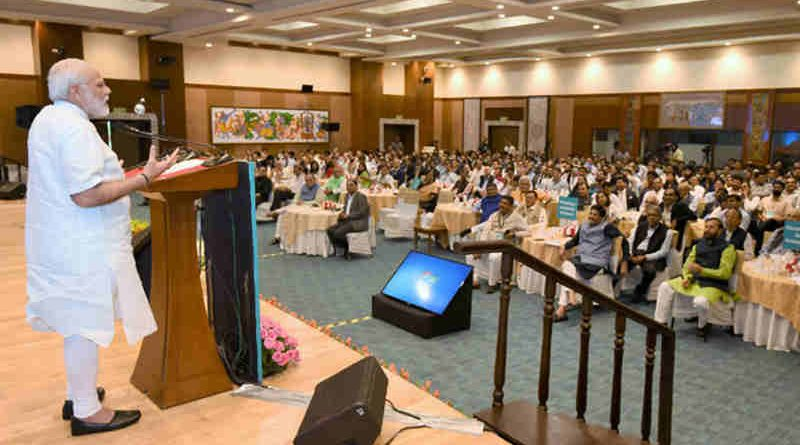 Narendra Modi addressing the young entrepreneurs at the Champions of Change programme, organised by the NITI Aayog, in New Delhi on August 17, 2017
