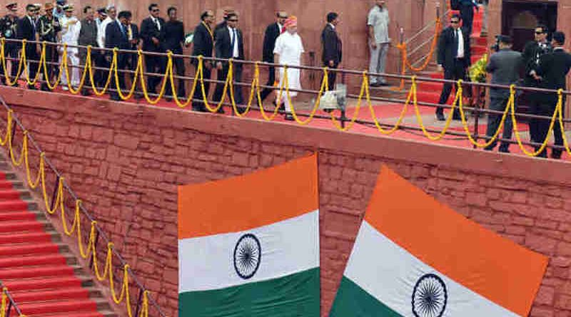 Narendra Modi walking towards the dais to address the Nation at the Red Fort, on the occasion of 70th Independence Day, in Delhi on August 15, 2016
