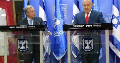 Secretary-General António Guterres (left) and Prime Minister Benjamin Netanyahu of Israel brief the press in Jerusalem. Photo: Shlomi Amsalem