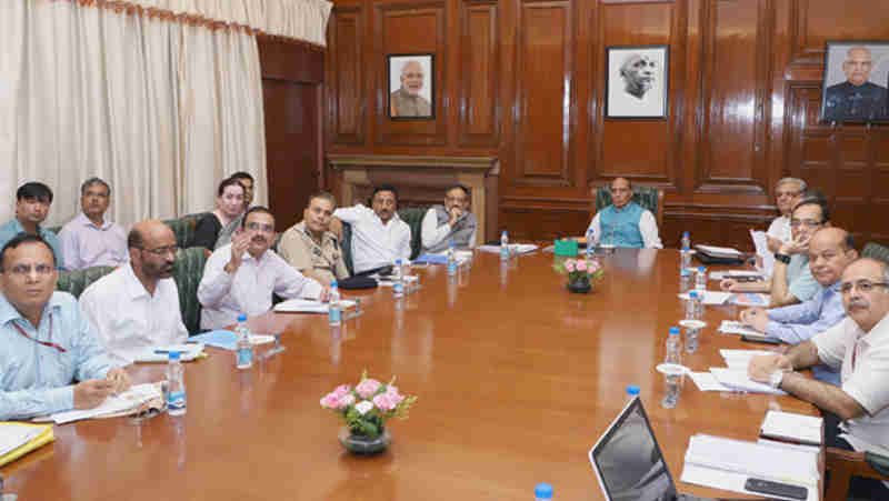 Rajnath Singh chairing a meeting to review the measures to check cybercrime in the financial sector, in New Delhi on September 19, 2017