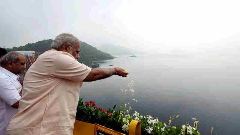 Narendra Modi at the Sardar Sarovar Dam, in Gujarat on September 17, 2017