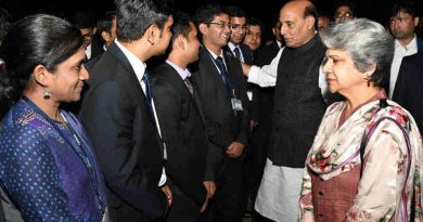 Rajnath Singh interacting with IAS probationers at the Lal Bahadur Shastri National Academy of Administration (LBSNAA), at Mussoorie, in Uttarakhand on September 28, 2017