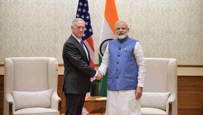 The US Defence Secretary, Mr. Jim Mattis calls on the Prime Minister, Shri Narendra Modi, in New Delhi on September 26, 2017.
