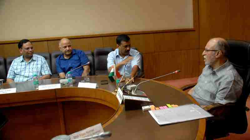 Arvind Kejriwal with Anil Baijal
