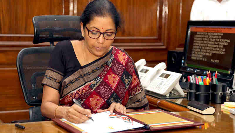 Nirmala Sitharaman taking charge as the Union Minister for Defence, in New Delhi on September 07, 2017