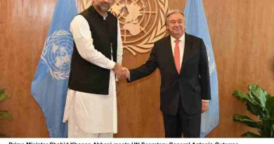 Prime Minister Shahid Khaqan Abbasi meets UN Secretary General Antonio Guterres at the UN Headquarters in New York on 21st September, 2017