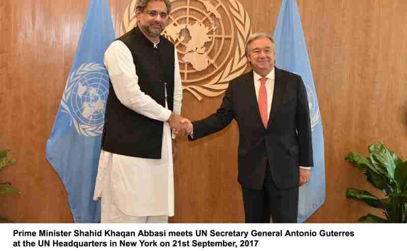 Prime Minister Shahid Khaqan Abbasi meets UN Secretary General Antonio Guterres at the UN Headquarters in New York on 21st September, 2017