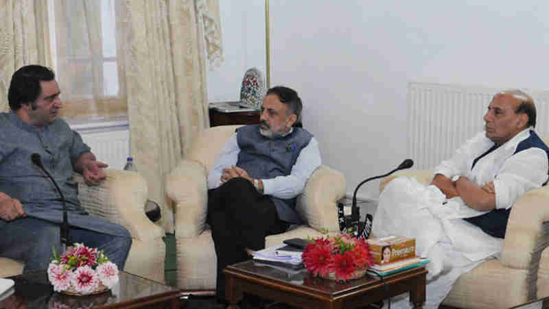 A delegation led by Shri Sajjad Ghani Lone calling on the Union Home Minister, Shri Rajnath Singh, in Srinagar on September 10, 2017. (file photo) Courtesy: PIB