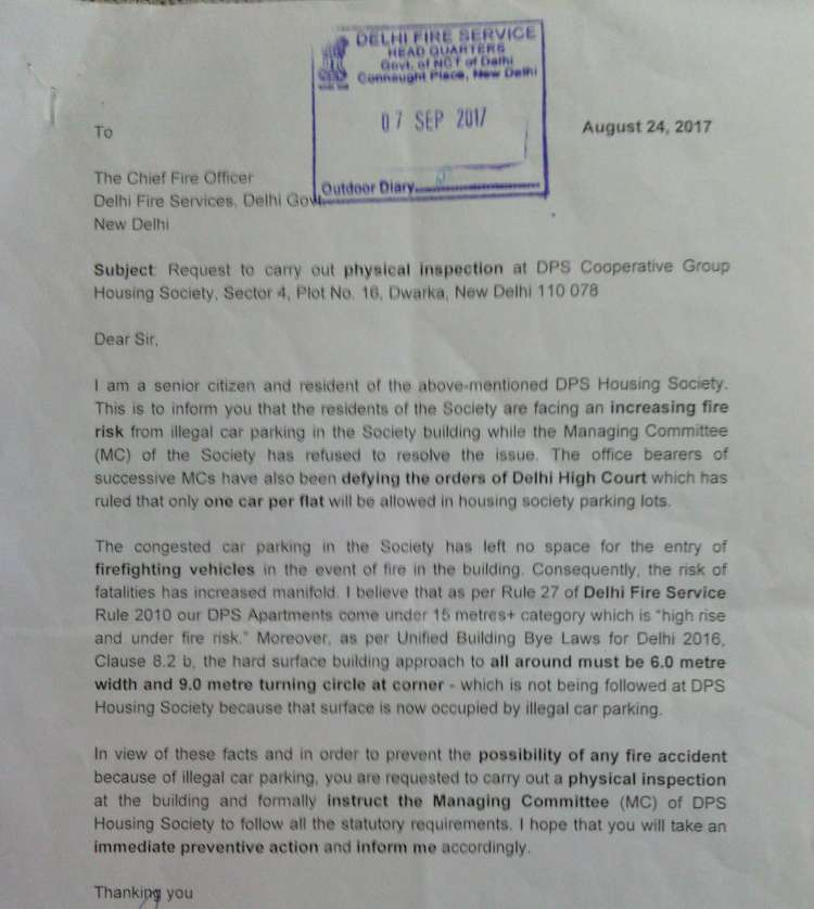 Letter from a senior citizen to get illegal car parking removed. Delhi Fire Service ignored the letter.
