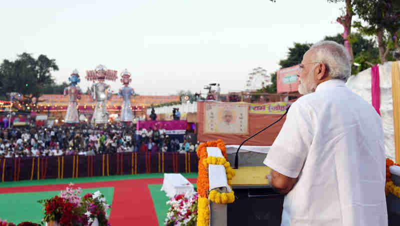 Narendra Modi addressing the gathering at the Dussehra celebrations at Madhav Das Park, Red Fort, on the auspicious occasion of Vijay Dashmi, in Delhi on September 30, 2017