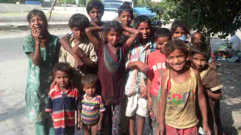Poor Children in India's capital New Delhi. Photo: Rakesh Raman